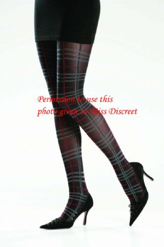 40D Black Tights with Red & Brown Network Pattern Medium or Large